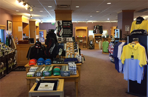 Golf Shop at Bardmoor Golf & Tennis Club interior showing Golf shirts, hats and balls