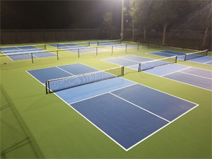Night view of lighted Pickleball Courts