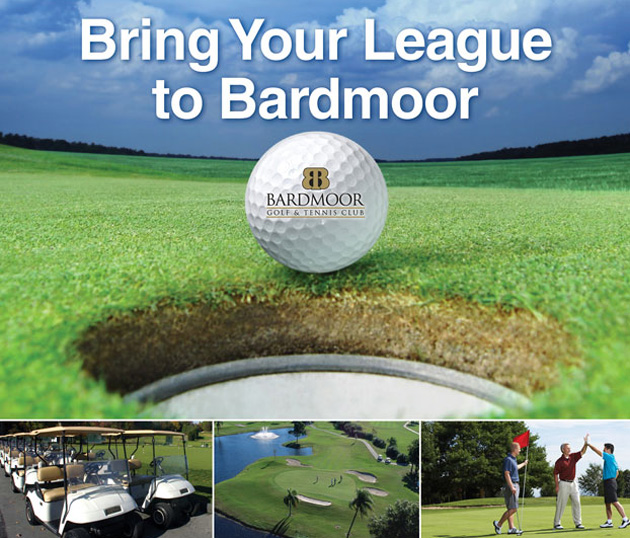 Photo collage with text that reads Bring Your League to Bardmoor and features closeup of Bardmoor Logo golf ball, a line of golf carts, a golf course fairway with flag stick in distance and three male golfers celebrating on the green