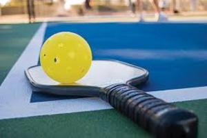Closeup of a pickleball paddle and ball